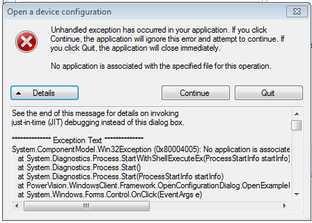 Unhandled exception PV2 7 Open device config - PowerVision Forums